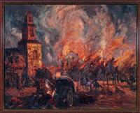 vormarsch russischer truppen in einer brennenden stadt by georg lebrecht