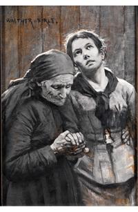 grisaillemalerei eines in trauer gestützten, jungen mädchens by walter firle