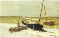 two beached sailboats and a dory by dennis miller bunker