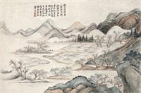 仿赵大年水村图 立轴 纸本 by zhang zongcang
