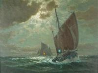 segelboote auf rauher see im mondschein by martin franz glüsing (francis-glüsing)