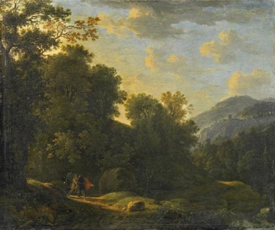 jakobs kampf mit dem engel lichtung vor einer weiten bergigen waldlandschaft by eglon hendrik van der neer
