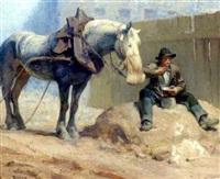 frokosten nydes af rytter og hest by louis roger