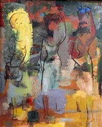 three women carrying baskets on their heads by douglas macdiarmid
