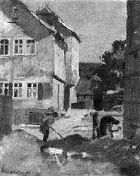 arbeiter beim straßenbau in einem mittelalterlichen städtchen by otto rauth