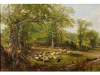 landscape with sheep: a summer day by frederick william hulme