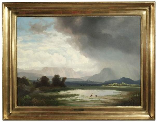 weite wolkenverhangene landschaft wohl im chiemgau by ignaz raffalt