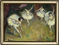 vier tanzende ballerinas auf der bühne by franz löffler