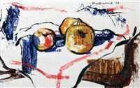 still life of apples on a chair by douglas macdiarmid