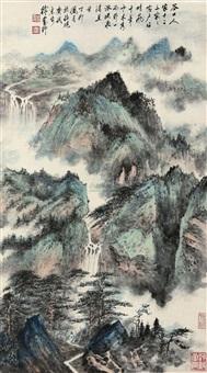 青绿山水 (landscape) by xu yanye