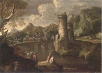a mountainous landsape with a caravan crossing a turretted bridge, anglers in the foreground by jan de momper