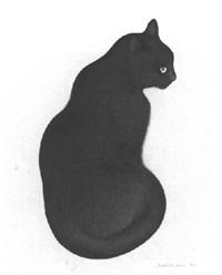 sitzende schwarze katze mit orange-gelben augen by hans rüttimann