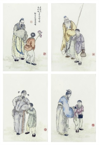 famille rose plaques set of 4 by liu xiren