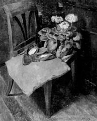 stilleben mit blumen und roten pantoffeln by alexander posch