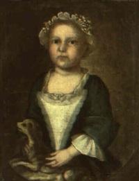 portrait of priscilla greenleaf holding dog by joseph badger