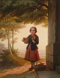 portrait eines kleinen mädchens mit blumen. meisterlich by johann georg meyer von bremen