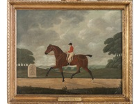 phenomena, the celebrated trotting mare, with jockey up, on the road to cambridge near fenney stanton by john cordrey