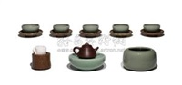 巾筒、壶床、水钵、茶盏、盏托 (五件套)(set of 5; various sizes) by ma yuejun