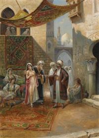 orientalisk marknadsscen by v. cortella