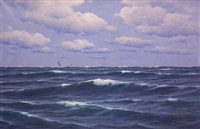 segelboote am horizont by carl kenzler