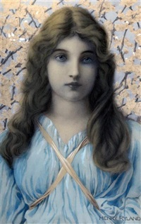 portrait of a maiden standing before apple blossom by henry ryland