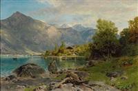 am walen-see. prachtvoller sommertag mit blick über den see auf die ansteigenden berge by alfred (wilhelm) metzener