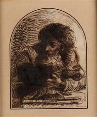 bildnis eines bärtigen, lesenden mannes by abraham van diepenbeeck