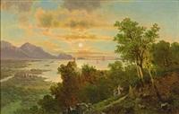 sonnenaufgang bei bregenz vorarlberg. blick vom pfänder über den gebhardsberg mit kapelle auf den abendlichen bodensee by anton pickert