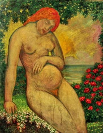 schlafende schwangere im rosenhain mit blick auf das meer im abendrot by anna quedenfeldt