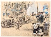 berlin, ein 28/95 ps mercedeswagen als taxi vor dem café kranzler auf dem kurfürstendam by hans liska