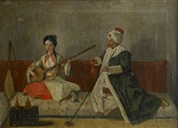 m.levett and mlle glavani seated on a sofa by jean-michel liotard
