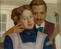 selbstportrait des malers mit seiner gattin by alwin arnegger