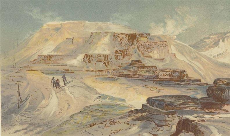 pink terraces, mammoth hot springs gardiner's river by thomas moran