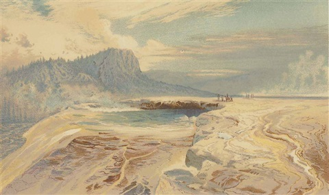 great blue spring lower geyser basin by thomas moran