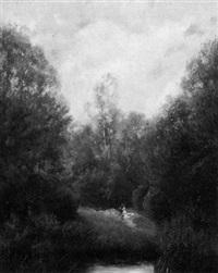 waldlandschaft mit spaziergängern by werner vogel