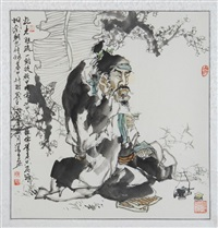 lohan drinking tea beneath a flowering tree by jiang zesheng