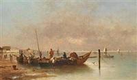 fiskerbåde ud for den dalmatiske kyst by a. vescovi