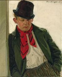 halbfigürliches portrait des münchner volkssängers hans konrad, gen. lucki von der au by alwin arnegger