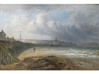 figures on a beach, french (?) coast by james vivien de fleury