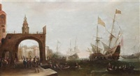 a capriccio of mediterranean harbour with shipping by bonaventura peeters the elder