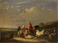 hahn und hühner auf der weide by alfred jacques verwee