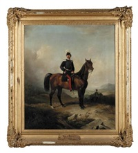 portrait of major rudorff on horseback (generalrat major rudorff zu pferd) by conrad l' allemand