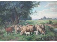 man tending sheep at the edge of a wood by fritz van den daele