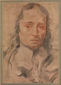 portrait eines jungen mannes mit langem haar und breitem kragen by anonymous-italian