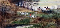 hunting scenes (set of 5) by arthur willett