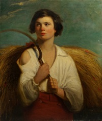 a boy haymaking by james john hill