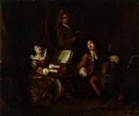 a scene in the opera. il fernatico per la musica composed by mayer. musicerende par by john cawse