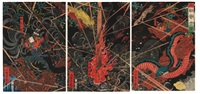 tametomo nomare no jukketsu - dix actes héroïques et honorables de tametomo (oban tate-e triptych) by yoshitsuya