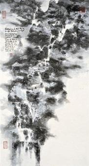 书桌上听瀑 by master of the water, pine and stone retreat