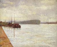 levallois - flusslandschaft mit booten by alfred marie le petit